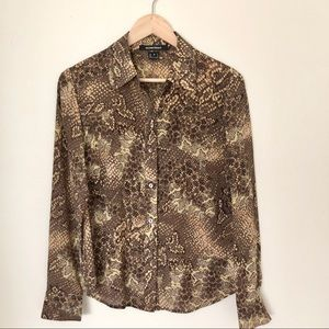 Ellen Tracy 100% silk button down blouse python 4